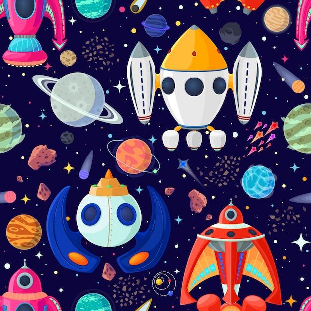 Бесшовные планет и космических кораблей в открытом космосе. Premium векторы