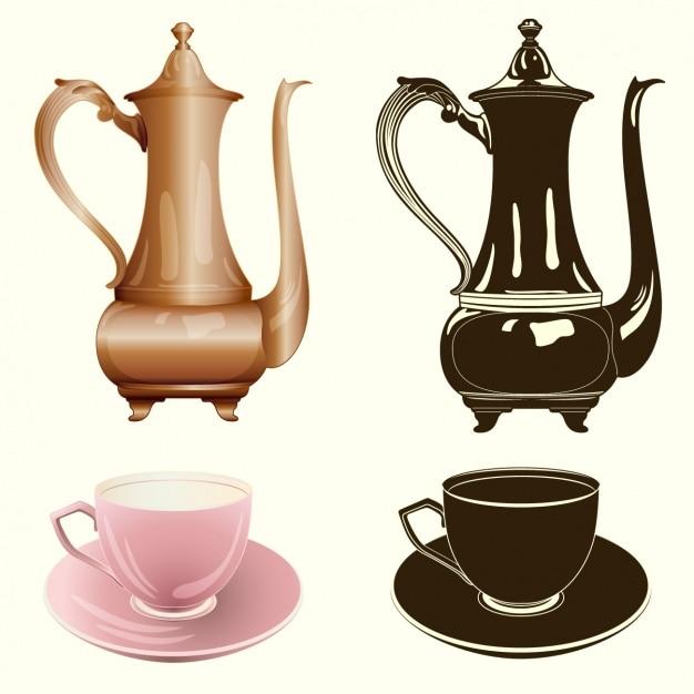 Коллекция чая элементы Бесплатные векторы