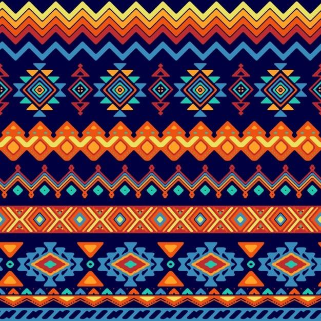 エスニックスタイルで抽象的な形パターン 無料ベクター