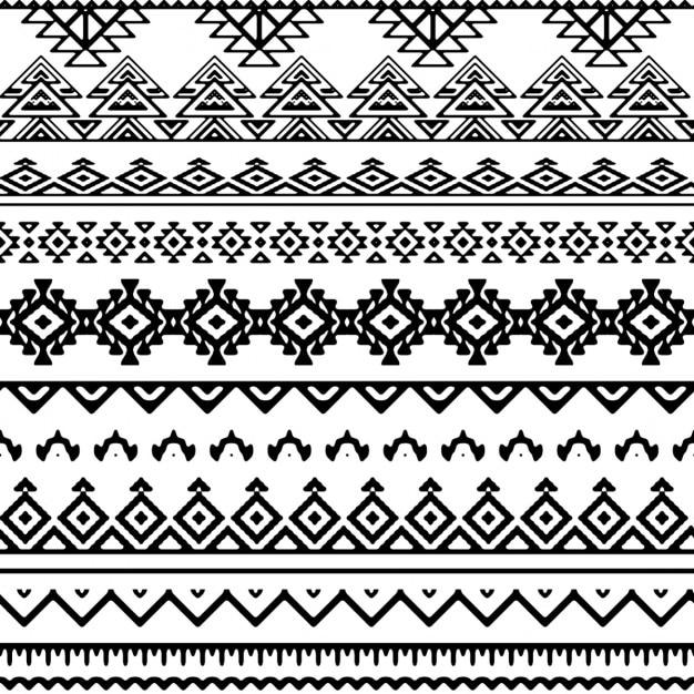 黒と白の部族のパターン 無料ベクター