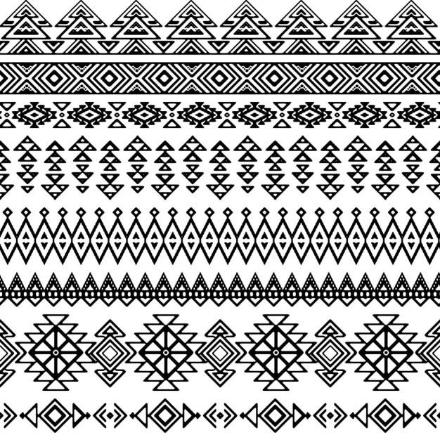 Вектор бесшовные племенные стиль моно узор Бесплатные векторы
