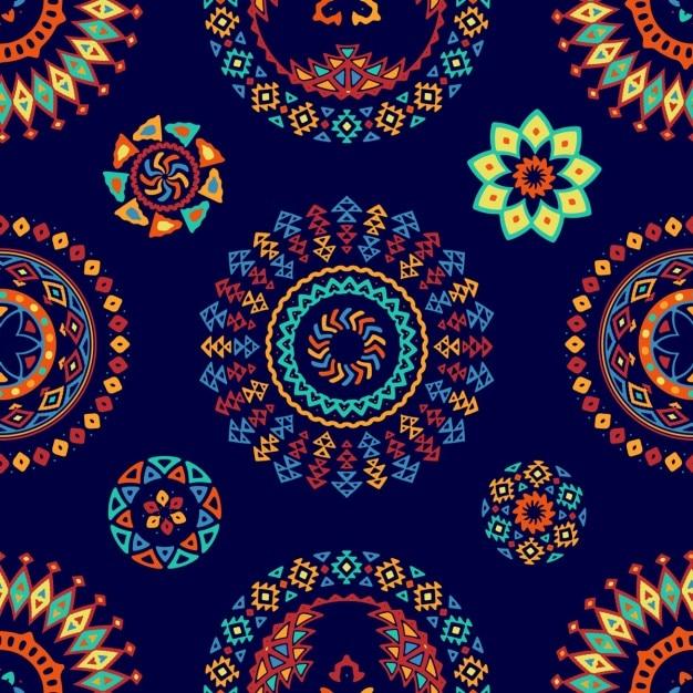 民族抽象的な形とブルーのパターン 無料ベクター