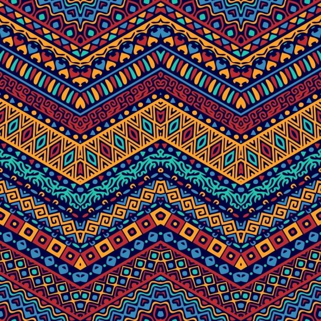 民族の装飾品との完全なカラーパターン 無料ベクター