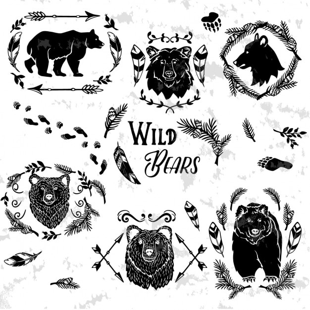 Коллекция деревенском декоративных медведей с цветочными элементами дизайна Бесплатные векторы