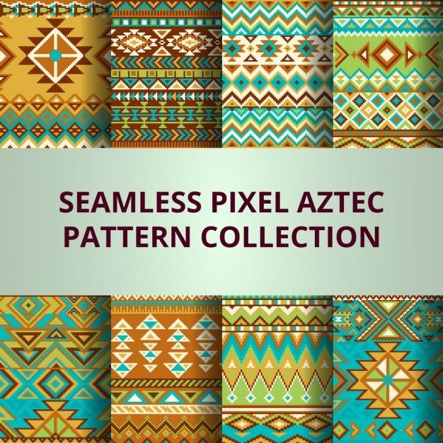 ピクセルのコレクションカラフルなシームレスなベクトルパターン 無料ベクター