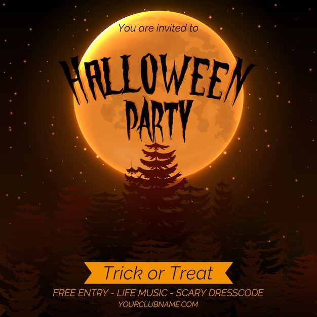 暗い森、満月とテキストのための場所でハロウィンパーティーの招待ポスターテンプレート。 Premiumベクター