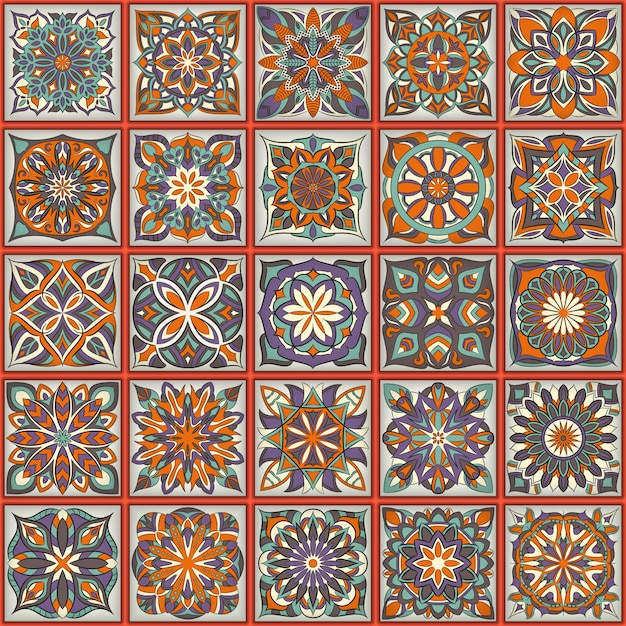 華やかな花のシームレスなテクスチャ、ヴィンテージのマンダラの要素を持つ無限のパターン。 Premiumベクター
