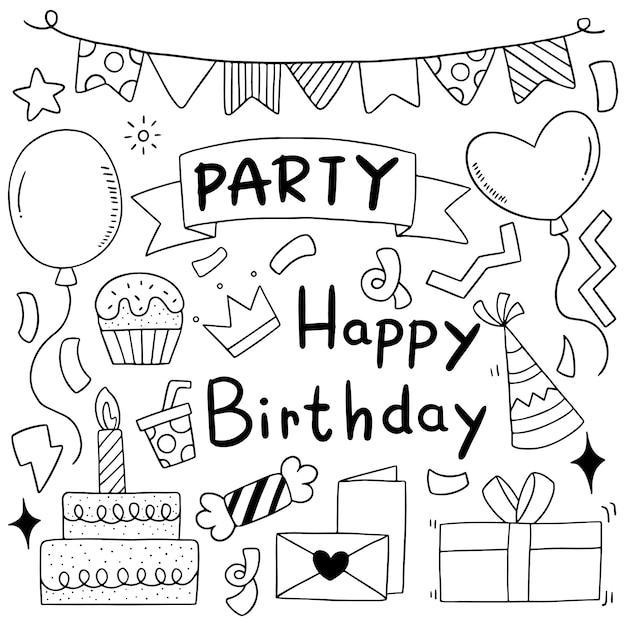 Рисованной партии каракули с днем рождения украшения фоновый узор иллюстрации Premium векторы