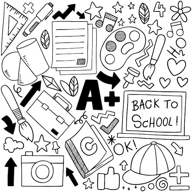 手描きの学校アイコン飾りのセット Premiumベクター