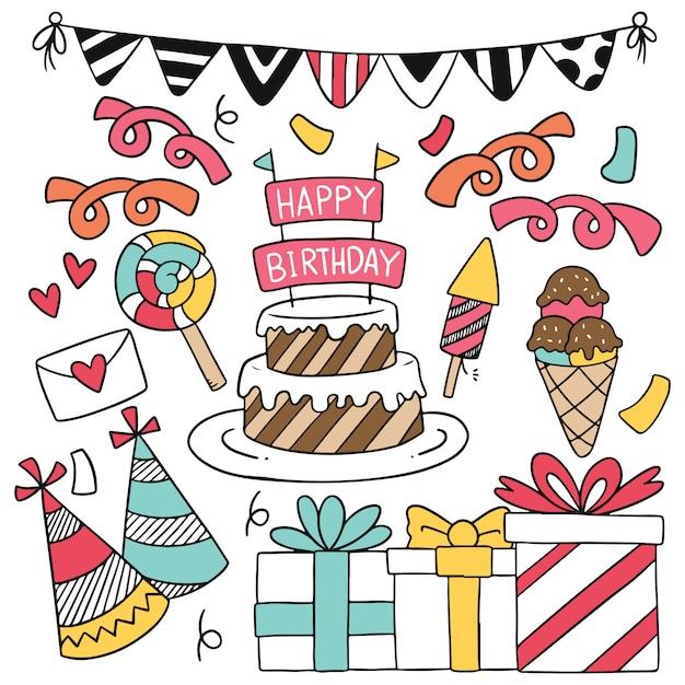 手描きパーティー落書き誕生日おめでとう装飾品。 Premiumベクター