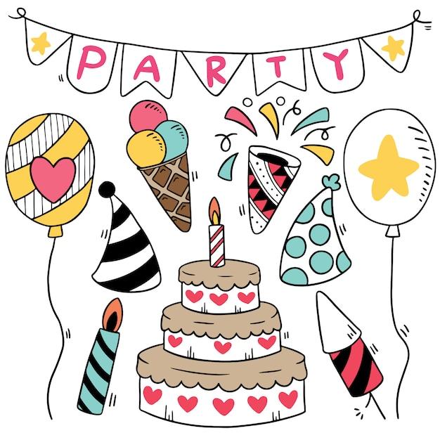 Рисованной партии каракули с днем рождения украшения фоновый узор Premium векторы