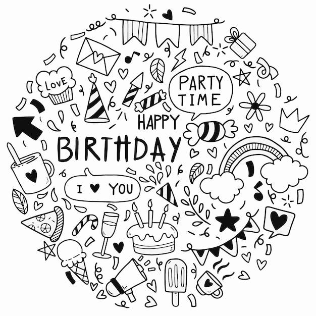 手描き落書きお誕生日おめでとう飾りパーティー Premiumベクター