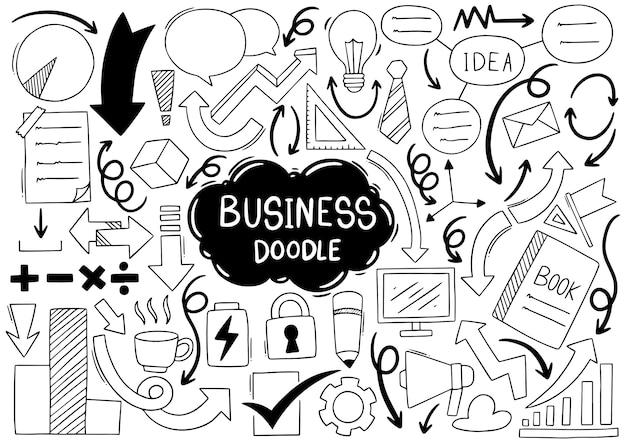 手描きのビジネスアイデア落書きセット Premiumベクター