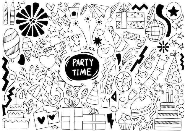 手描きパーティー落書きお誕生日おめでとう装飾背景パターン Premiumベクター