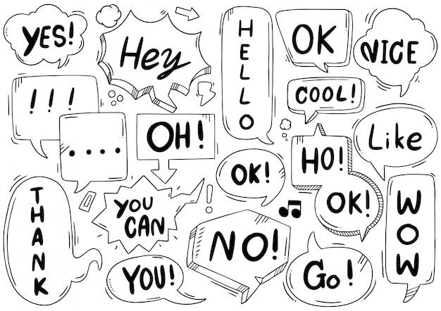 Набор рисованной милый речи пузырь с текстом в стиле каракули Premium векторы