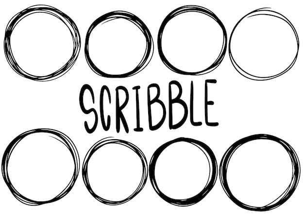 Нарисованные рукой линии круга каракулей. каракули круговой логотип дизайн эскиз изолированные элементы. Premium векторы