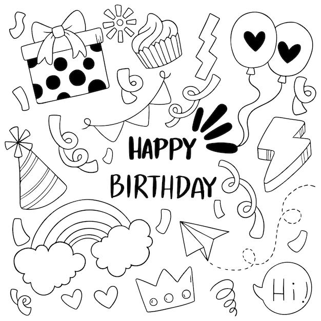手描きパーティ落書きお誕生日おめでとう飾り背景パターン Premiumベクター