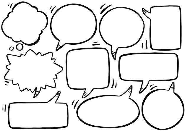 Ручной обращается фон набор речи пузырь в стиле каракули Premium векторы