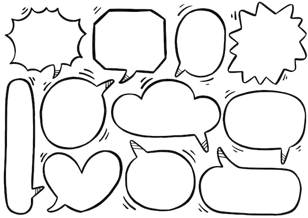 Ручной обращается фон набор милый речи пузырь в стиле каракули Premium векторы