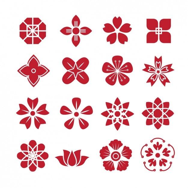 Красный цветок формирует пакет иконок ...: ru.freepik.com/free-vector/red-flower-shapes-icons-pack_868101.htm