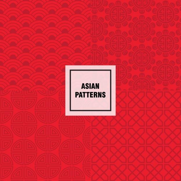 レッドアジアパターン設計 無料ベクター
