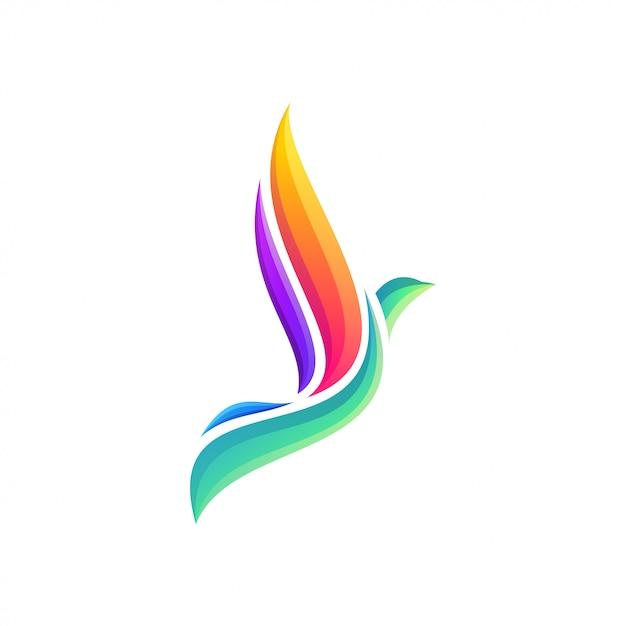 素晴らしいカラフルな飛ぶ鳥のロゴデザイン Premiumベクター