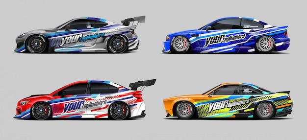 Набор наклеек для автомобильной упаковки для ралли и гонки Premium векторы