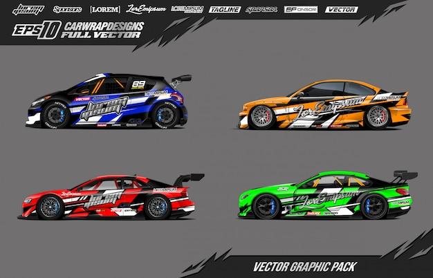 Набор наклеек для гоночных автомобилей Premium векторы