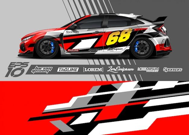 Спортивная машина обернуть абстрактный гоночный дизайн Premium векторы