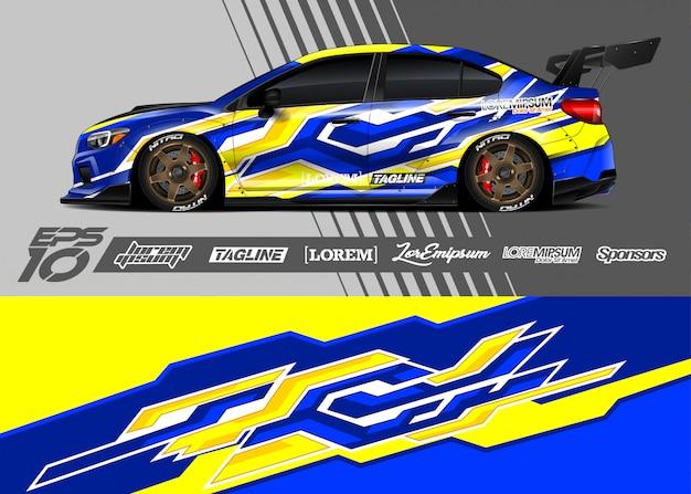 Автомобильная упаковка графического дизайна. абстрактная полоса гонок. Premium векторы