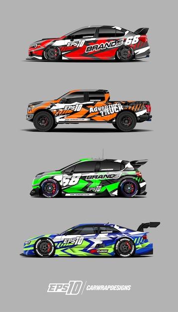 レースカーデカールセットデザイン Premiumベクター