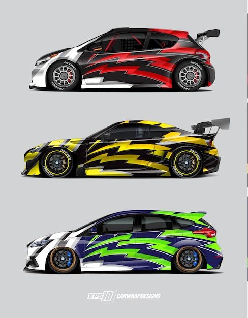 レースカーラップデザインセット Premiumベクター