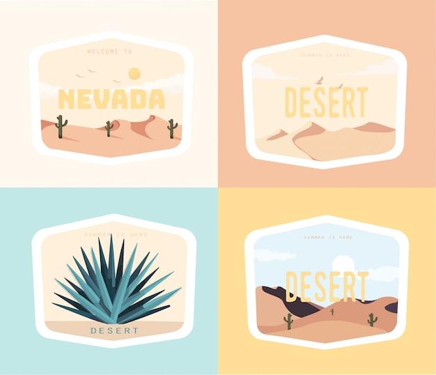 ネバダ砂漠のイラストデザインセット Premiumベクター