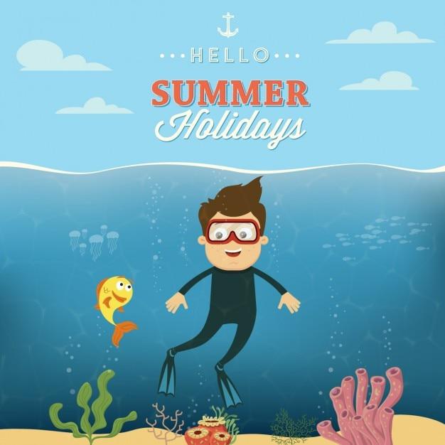 Красочный летний дизайн Бесплатные векторы