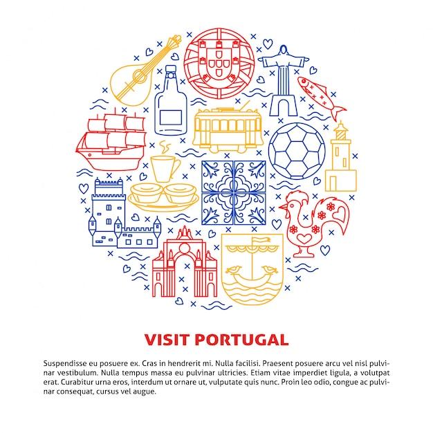 Визит португалии вокруг композиции элементов Premium векторы