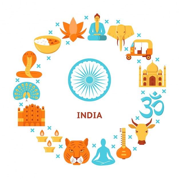 丸みを帯びた構成のインド文化要素 Premiumベクター