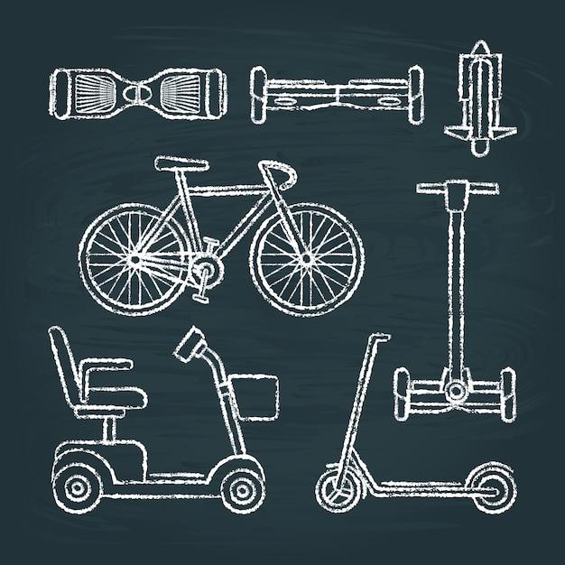 Набор скутеров и велосипедных эскизов на доске Premium векторы