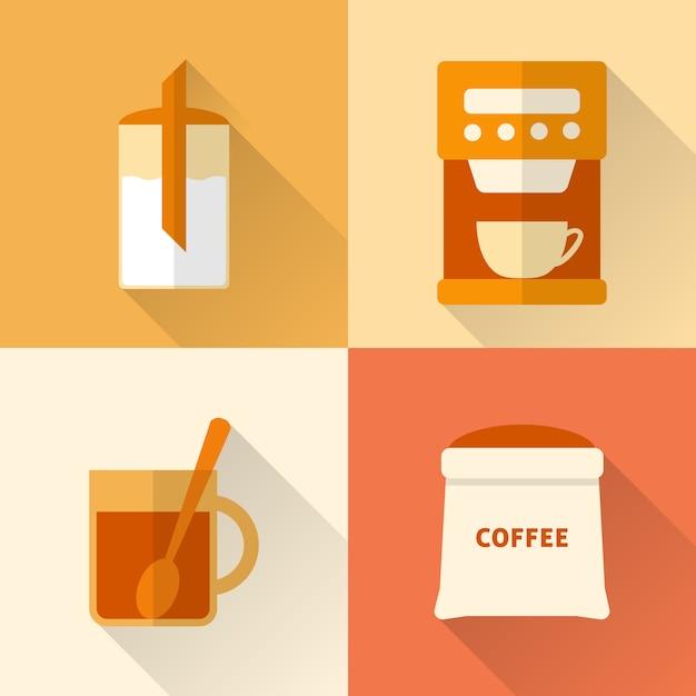Набор плоских иконок кофе Premium векторы