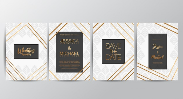 高級贅沢な結婚式の招待状 Premiumベクター