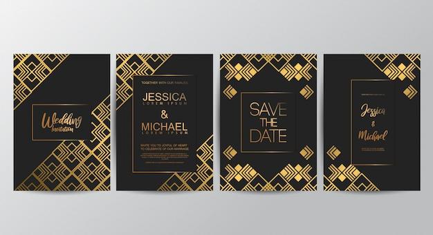 Свадебные приглашения премиум класса люкс Premium векторы