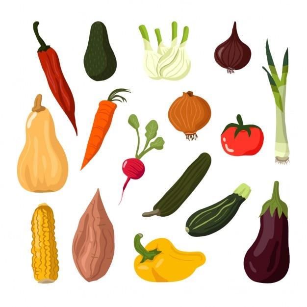 Овощи комплект Бесплатные векторы