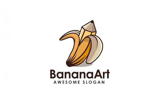バナナと描画鉛筆漫画ロゴ Premiumベクター