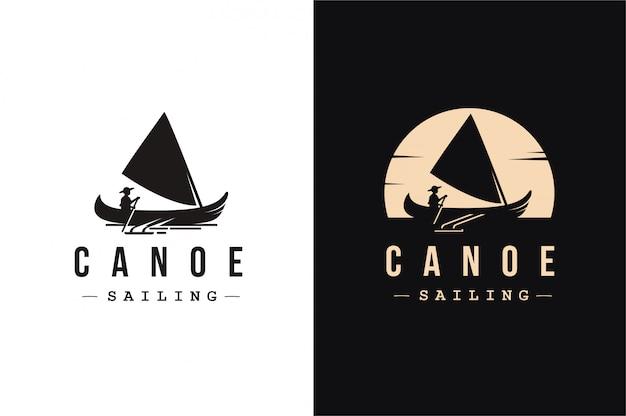 Каноэ парусный спорт логотип Premium векторы
