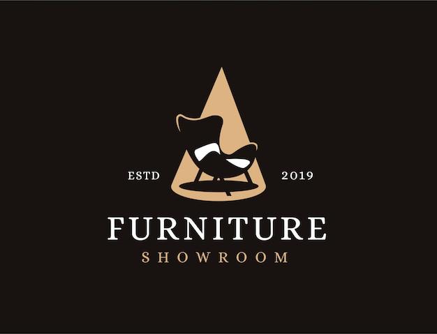 クラシックなミニマリストのビンテージソファとスポットライト、家具のロゴ Premiumベクター