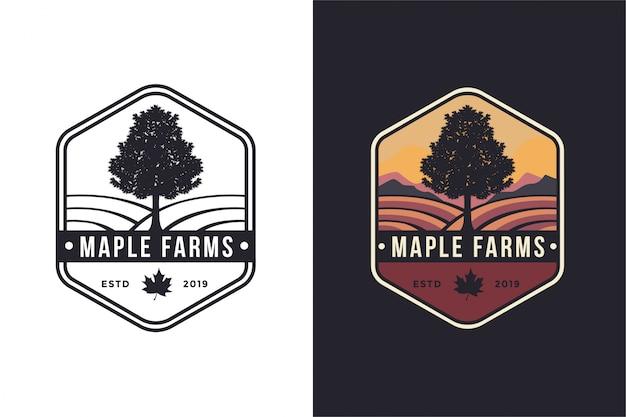 Винтажная эмблема битник клен и фермы логотип Premium векторы