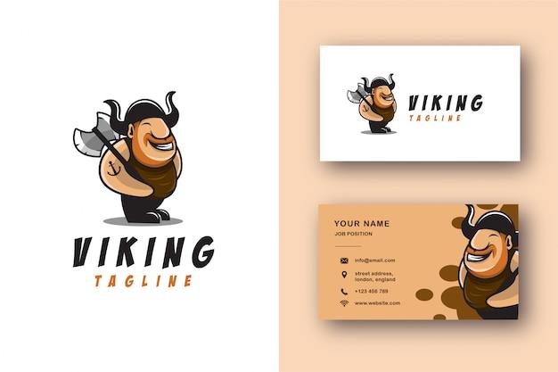 Викинг талисман мультфильм логотип и визитная карточка набор Premium векторы