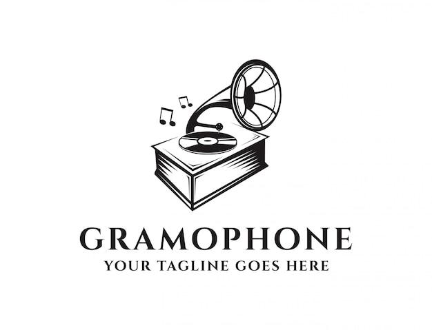Урожай граммофон логотип Premium векторы