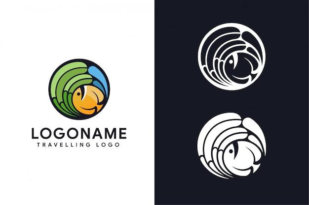 Рыба путешествует логотип Premium векторы