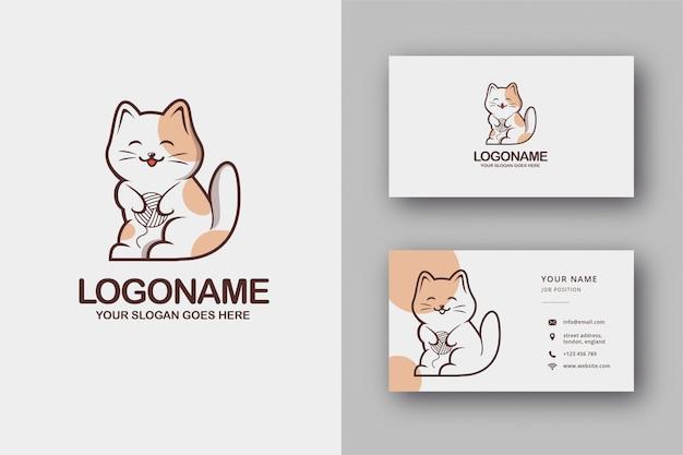 かわいい猫のロゴと名刺 Premiumベクター