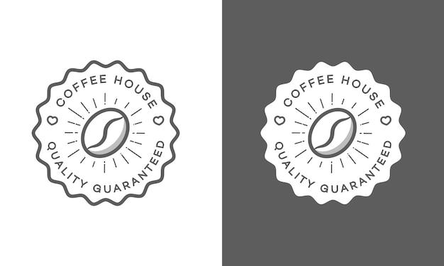 白と黒に分離されたコーヒーハウスのロゴのセット Premiumベクター